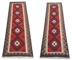 NO RESERVE ! DOUBLE FACE Pair of Hand Woven Afghan Maimana Kilim Carpet Runner Rug 197 cm x 61 cm