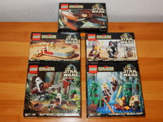 Star Wars - 7101 + 7110 + 7111 + 7121 + 7128 - Lightsaber Duel + Landspeeder + Droid Fighter + Naboo Swamp + Speeder Bikes