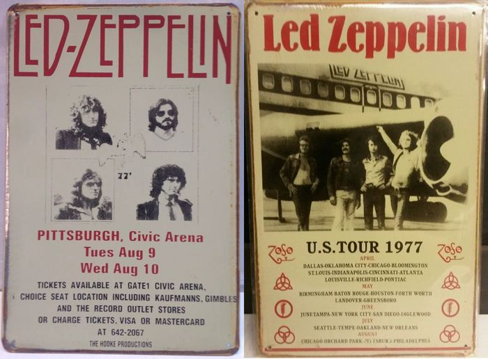 Led Zeppelin Concert Poster Tin Plaques