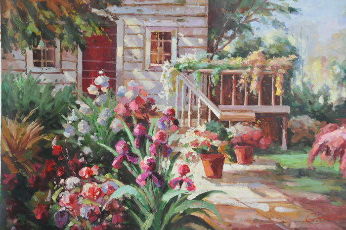 Unknown artist - Patio with flowers
