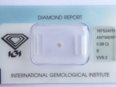 0.08 ct briljant geslepen diamant E / VVS2 ***No minimum price***