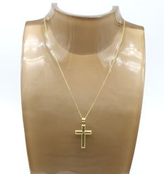 14 carat yellow gold chain with cross - 46cm
