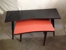 Designer Unknown - two vintage tables with black and orange formica top