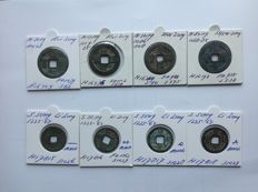 China – 8 AE cash coins from the Northern and Southern Song dynasty, 998-1264 A.D. All different.