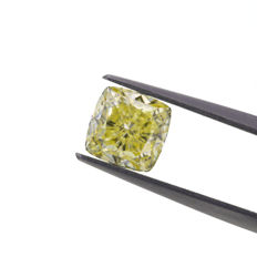 Natural Fancy Light Yellow 2.09 ct. VVS2 Cushion shape Diamond, GIA certified
