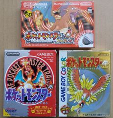Game Boy Color/Advance: lot of 3 boxed Pokémon (Pocket Monsters) games: Red Version, Gold Version and FireRed Version with Wireless Adapter (Japanese imports)