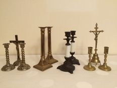 Four pairs of beautiful candelabras two with matching crucifixes, Belgium and England, early 20th century