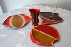 Verceram - vase, dessert and cheese plates, trivet, modernist design or art déco
