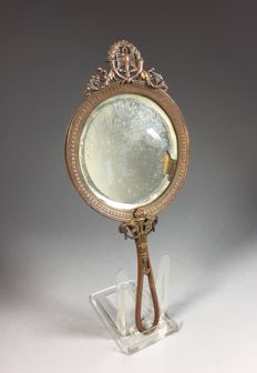 Brass hand mirror in Empire style - France - ca. 1900