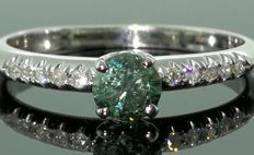 14kt Golden ring  - Intense blue 0,35ct & 10 brilliant 0,10ct -size 16,75mm ***No minimum price***