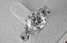 IGL 2.97 ct  round diamond ring made of 14 kt white gold - size 7.5