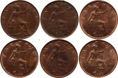 United Kingdom - Farthing 1922, 1932 and 1936 George V (total 6 pieces)