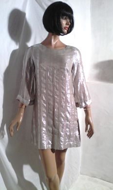 Escada - Tunic dress with open sleeves - silvery beige.