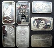 United States - Collection of 7 different 1 Oz silver bars among others, Engelhard, Elemetal and Golden state