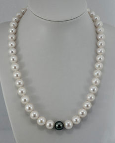 Cultured pearl necklace with 1 Tahiti cultured pearl AAA and 14 kt gold clasp - length: 45.0 cm
