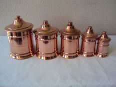 Superb set of five tinned copper spice pots, 20th century