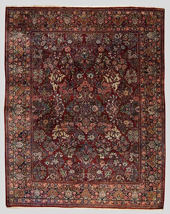 (Size – 313 x 243 cm) Authentic rug from the period 1900-1920 – rare, original, exceptional SAROKH AMERIKANO Persian (Iran) with certificate of authenticity (GalleriaFarah1970).