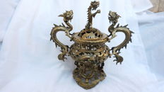 Superb polished bronze censer - China - early 20th