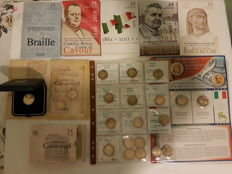 Italy – 2 euro commemorative coins (26 coins – 6 in blister pack FDC – 1 in FS box – 19 loose)