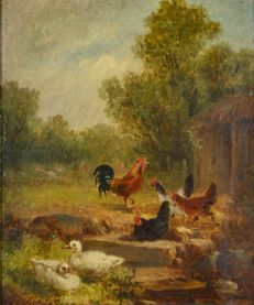Unknown. (19th century) - Chickens and ducks in a farmland setting.