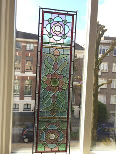 Beautiful Art Deco Amsterdam School, hand-painted stained glass window (suncatcher), with mosaic pieces with special lenses, mouth-blown glass - approx. 1900
