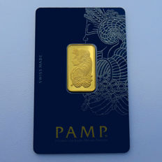 Switzerland - Pamp Suisse - 10 grams 999.9 gold / gold bars - in blister packaging - with certificate and serial number