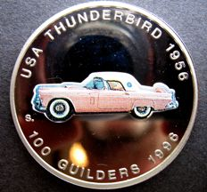 "Suriname, 100 guilders, 1996, ""Thunderbird"", in display case"