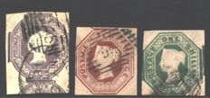 Great Britain - 1848 - Queen Victoria embossed, 3 values and Penny Black - Stanley Gibbons no. 1, 55/57