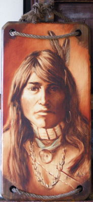 American Indian - Painting on wood - signed Mahé - twentieth century.