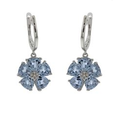 "Chimento – ""Anthea"" white gold dangle earrings with topaz and diamond – length of dangle earring 24 mm."
