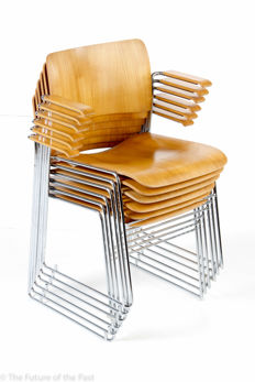 David Rowland for Howe - Six wooden '40/4' stackable wire steel chairs with wooden armrests