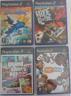 4 New sealed Playstation 2 (PS2) Games - Scaler, 187 Ride or Die, GTA Vice City Stories, Eye Toy Play