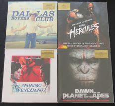Dallas Buyers Club / Hercules / Anonimo Veneziano / Dawn Of The Planet Of The Apes: Great lot of 4  Original Soundtrack albums (7LP's), all on limited, numbered and out of print coloured 180 gram vinyl!