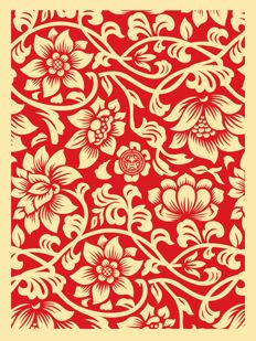 Shepard Fairey (OBEY) - Floral Takeover : Red/Cream (+ 5 original stickers)
