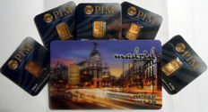 6 pcs. gold bars Nadir PIM fine gold 999.9/1000 sealed 24 Karat Goldbarren Bullion Gold LBMA certified;  1 pc. 0.5g  Giftbar CITY Madrid,  5 pcs. Goldbars each 0.10g