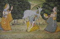 Pichhwai painting, Figure in garden –India –early 20th century