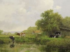 Albertus J. Temming (geb. 1942) - Cows at water's edge in Dutch landscape