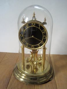 Kundo; Kieninger & Obergefell – torsion pendulum clock 400 days with glass dome – middle of the 20th century
