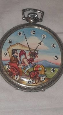 Anker men's pocket watch with erotic one second moving animation - circa 1900