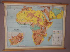 Beautiful map / school poster of Africa, by Bakker and Rusch with its wild animals, cocoa, petroleum, coffee, diamonds, etc.