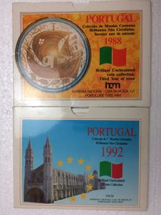 Portugal - 2 Collections of current brilliant, uncirculated BNC coins - 1988 and 1992