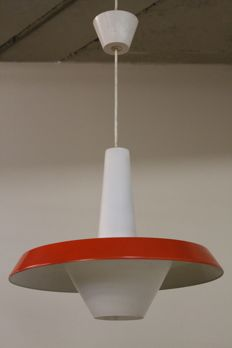 Philips – Pendant light, glass with red hood.