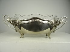 WMF - white metal jardinière with cut crystal inner tray - Germany - ca. 1890