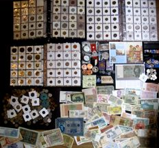 World - batch of coins, banknotes and miscellaneous, 1850/2017 (approx. 1200 pieces), including gold and silver in 3 albums and loose.