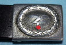 Belt and buckle (aluminium),   1940 , Luftwaffe, - WW2, in good condition, with stamp