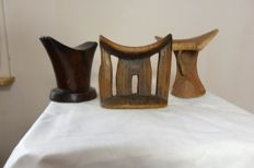 3 old African neck rests-Ethiopia