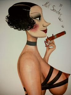 Original artwork; Alek Sander - Madame Cohiba Fetish with cigar - 2017