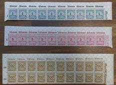 German Empire/Reich - special collection with upper fringe, units (blocks of 4) and platine errors