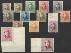 OBP numbers 165 to 178, King Albert I with helmet, very good centring, with photo certificate Pierre Kaiser for numbers 176, 177 and 178, which all feature sheet edges