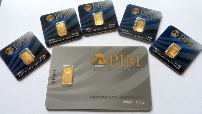 6 pcs. gold bars Nadir PIM fine gold 999.9/1000 sealed 24 Karat Goldbarren Bullion Gold LBMA certified ;  1 pc. 0.5g  Giftcard,  5 pcs. Goldbars each 0.10g
